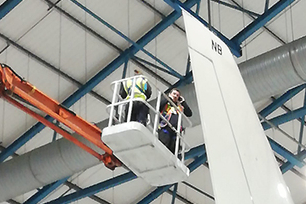 An international Testia team inspecting A380 in Caerdav, Wales
