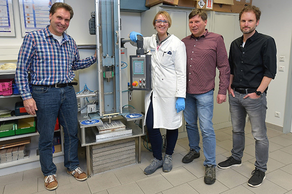 Part of the interdisciplinary team at Testia's impact test machine