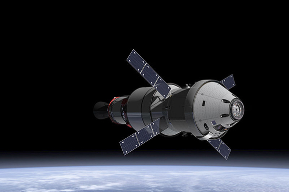 The Orion Service Module in the earth's orbit