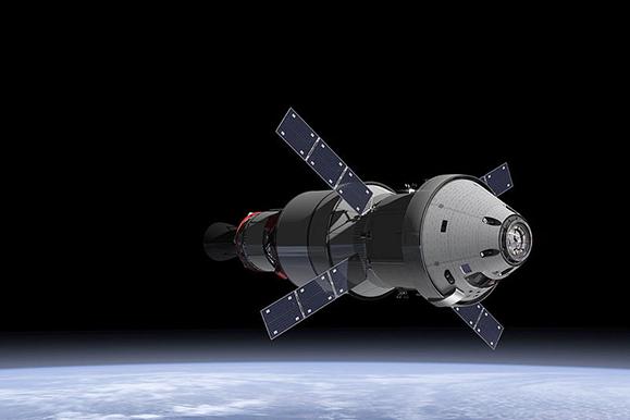 The Orion Service Module in the earth's orbit